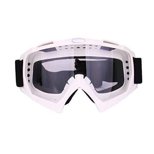 RONSHIN Motocross Casco Gafas Gafas Motocross Dirtbike Cascos de Moto Gafas Gafas Esquí Patinaje Gafas Marco Blanco Lente Transparente