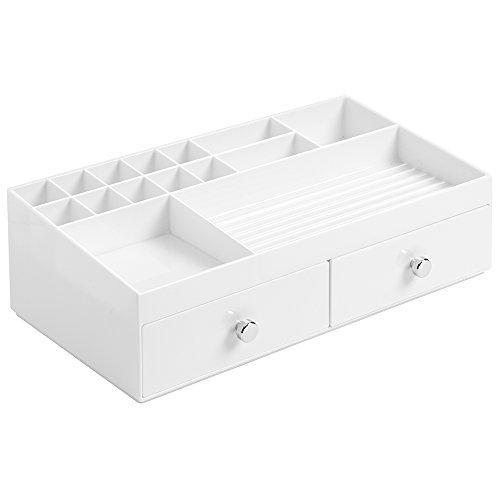 InterDesign 37462EU Organizzatore Cosmetici 2 Bianco Organizer per Make up con 1 cassetto