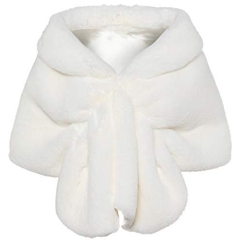 Pelz Schwarzer Mantel Kostüm - Coucoland Kunst Pelz Schal Damen Flauschig Faux Pelz Umschlagtuch Warm Kragen für Wintermantel 1920s Accessoires Gatsby Kostüm Zubehör (Weiß)