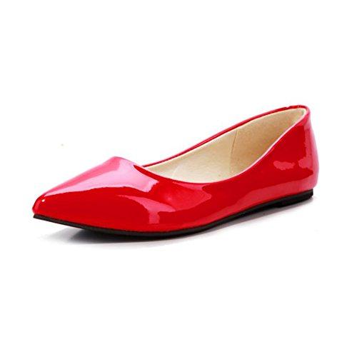 Amurleopard Ballerines Femme Moccasins chaussures talon plat Rouge
