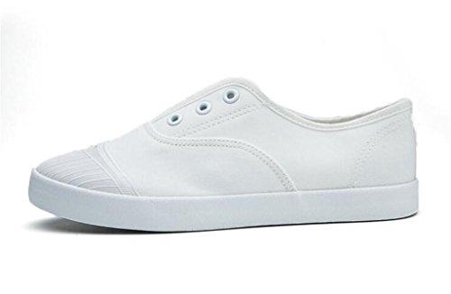 SHFANG Dame Schuhe Sommer Bewegung Freizeit Bequeme Studenten Schule Täglich Weiß Schwarz White