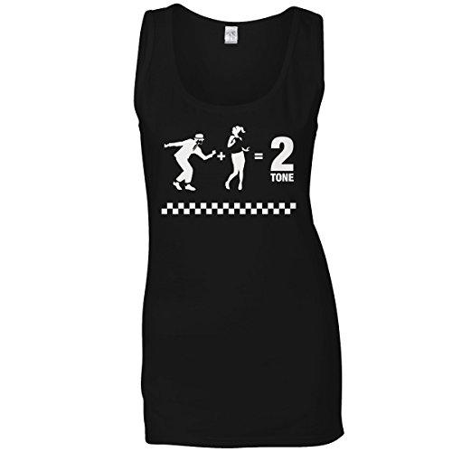 2Ska 2 Tone Black Vest Top for Women XXL 14-16