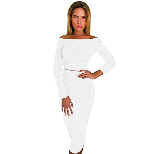 Damen Kleid Longra Damen Lange Ärmel aus der Schulter Knitted Top Bluse + Röcke Two-Piece Outfit Damen Abend-Partei-kleid Herbst-Winter Strickkleid (S, White) (Sexy White Outfit)