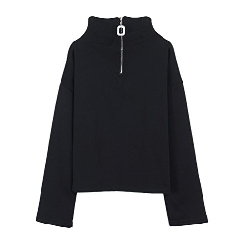 YNuth Chic Femme Sweatshirt Col Montant Zip Carré Simple Style Noir