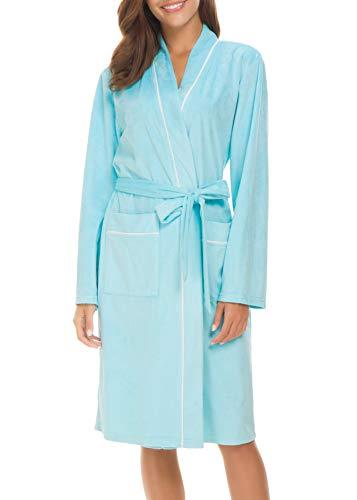 Invug Damen Kimono Bademantel aus weichem Flanell mit Taschen - Blau - Large