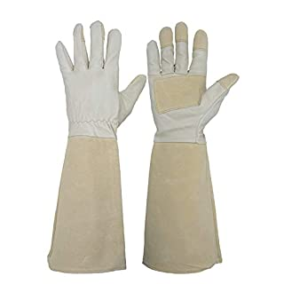 HANDLANDY Long Gardening Gloves for Men and Women, Pigskin Leather Rose Pruning Gloves- Breathable & Durability, with Thorn Proof Gauntlet Medium