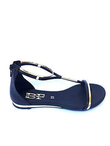 Sandali gioiello DV43 in pelle Divine Follie bianco nero oro MainApps Nero