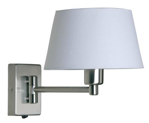 Oaks Lighting Armada - Lampada con fissaggio a parete, snodo semplice, finiture cromate e satinate (Chrome Finish Low Energy)