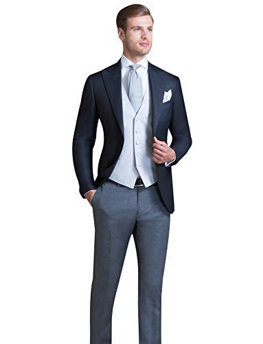 FRANK Herren Frack Formale Slim Fit 3-teiliger Anzug Hochzeit Rauchen Abendessen Jacke Schwalbenschwanz Mantel
