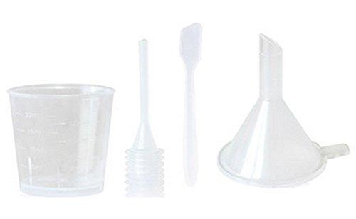 1Set (4Stück) Kunststoff Make Up Kosmetik Füllung Probe Verpackung tools-skin Care Zubehör inklusive Trichter/Maske Löffel Spatel/Transfer Pipette/Messbecher für Heimwerker und Reisen (transparent) - Löffel-pipette