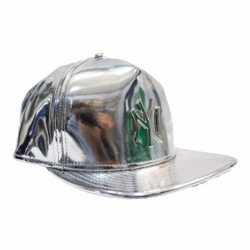 New Era cappello visiera argento laminato scritta NY alluminio.Tg.S/M