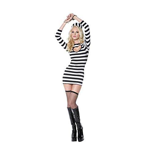 (YaXuan Frauen Langarm Halloween Kleid, Cosplay Kostüm Schwarz und Weiß Klassische Gestreifte Weibliche Gefängnis Uniform Nachtclub Party Kostüm Gefangene Uniform (Farbe : Photo Color, Größe : M))