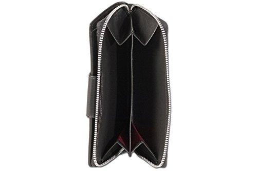 """Wallet """"Platino"""" con tasca portamonete e un grande circostante cerniera in metallo YKK in pelle pregiata Nero"""