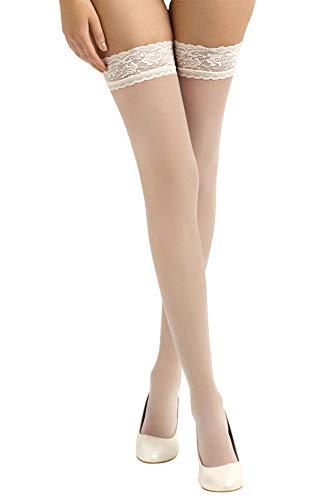 BrautChic® Halterlose Brautstrümpfe mit Spitze - Elegante Stay Up Strümpfe speziell für die Hochzeit - Luxuriös Transparent, Elastische Spitze 8cm - pH-neutraler Silikonstreifen - IVORY - Gr.L