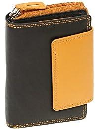 Portefeuille pour femme LEAS, cuir véritable, noir-orange - ''LEAS Zipper-Collection''