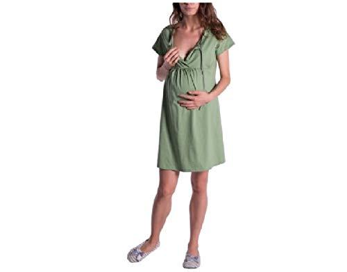 CuteRose Women's Short Sleeve Nursing Maternity Pregnant Organic Cotton Dresses Green M
