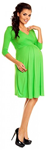 Zeta Ville- Maternité - Robe Grossesse - Cache-C?ur - À Manches 3/4 - Femme-282c green