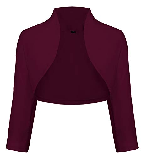 TrendiMax Damen Eleganter Bolero Jacke Schulterjacke Kurzes Jäckchen 3/4 Ärmel, Bordeaux, L