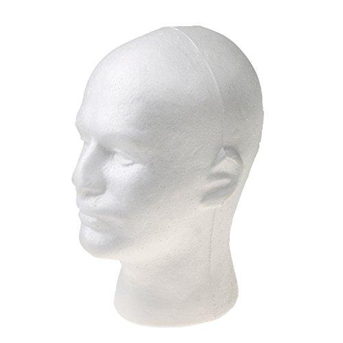 Mannequin Modèle à Tête Homme en Foam Modèle de Perruques Chapeaux Lunettes Affichage - Blanc, Taille unique