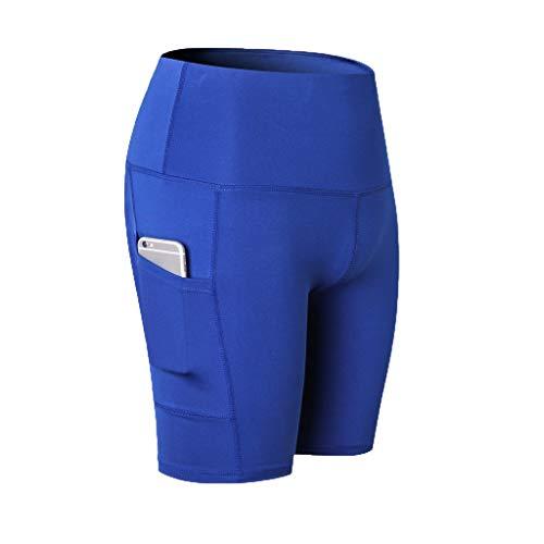 Yogahosen für Damen Kurze eng Anliegende Damen Sommer Hohe Taille Elastische Taille Sportliche Hose Kurze Hosen Schnell trocknend Schlanke Jogginghose Fitness-Shorts (Nike Spandex Shorts Frauen Blau)