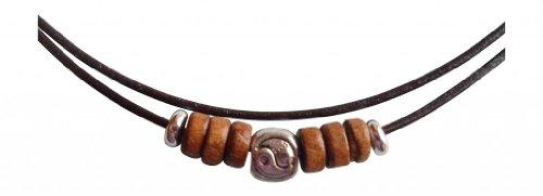 UK ShoreThing de Piel Color Marrón Plata tibetana de símbolo de Yin y diseño de Collar con Colgante en Forma de Madera Surf: Ajustable marrón/Plateado
