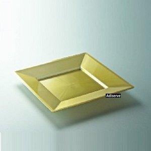 12 assiettes mariage carrées jetables 18cm plastique nacré-Or- Adiserve -