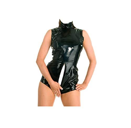 Reversible Catwoman Schwarz PVC Catsuit Bodysuit der Frauen Versuchung Lingerie Erotic Bodycon Kurzschluss -Overall Clubwear zu tragen (S)