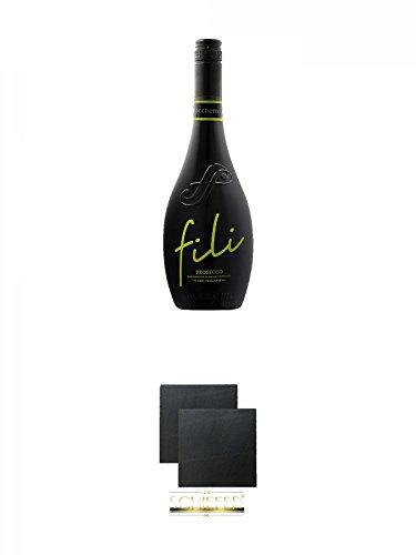 Sacchetto Fili Prosecco DOC Vino Frizzante 0,75 Liter + Schiefer Glasuntersetzer eckig ca. 9,5 cm Ø 2 Stück