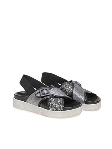 Sandalo flat Janet Sport 37757 Delphine grigio metallico P/E 2016 (37)