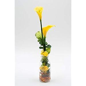 Tischgesteck mit gelben Calla(Latex)+Viburnum-Tischdeko mit künstlichen Blumen