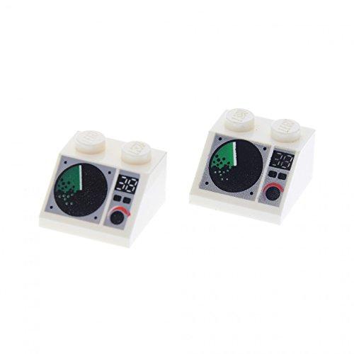 2 x Lego System Dachstein weiss 45° 2 x 2 bedruckt mit Radar Bildschirm Dachziegel schräg Steine 3039px5 Radar-bildschirm