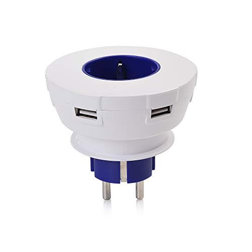 USB Ladegerät (Blau). Mehrfachsteckdose, 3x USB, 1x USB Typ C, 1x Steckdose. Schnellladegerät mit Steckdosen-Adapter. Power Charge Mehrfachstecker