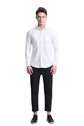 Pau1Hami1ton P-07 Oxford Casual Slim Maniche lunghe Camicia da uomo Bianco