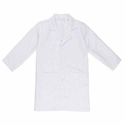 Tiaobug Laborkittel Arztkittel für Mädchen Kinderkostüm Arzt Kostüm Labor Kittel Mantel Weiß Weiß 122-128 (Herstellergröße: 130) (Kinder Weißen Kittel)