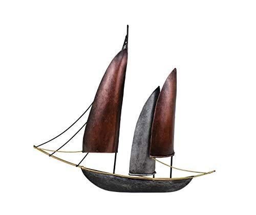 KLP Wanddeko Schiff Segelboot Metall Segel Boot Maritim Deko Hänger Skulptur Figur