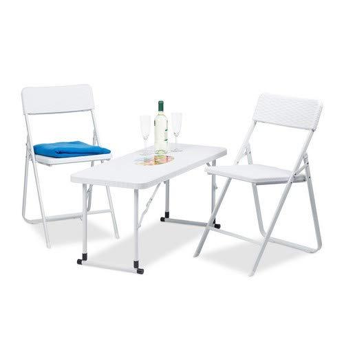 Relaxdays Gartenmöbel Set, Klappbar, Weiß, One Size