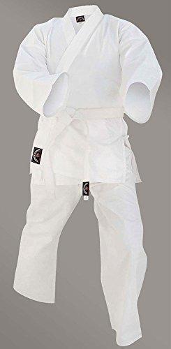 Junior sports Karate Kid Kostüm GI suit outfit kleidung 100 % baumwolle weiß farbe - Weiß, 2/150 (Elastischen Bund Gi)