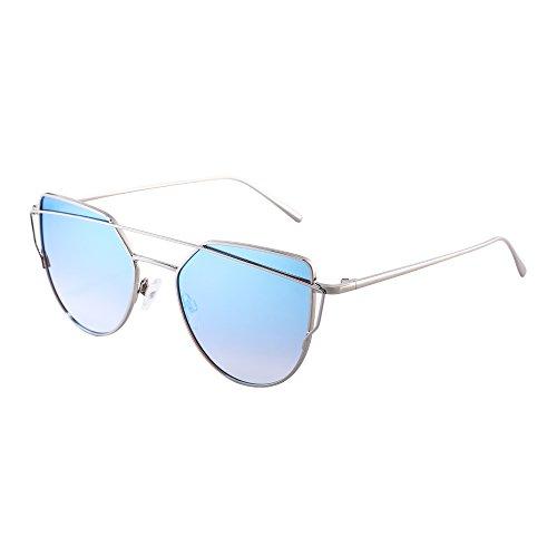 Retro Katzenaugen Sonnenbrille Oversized Flach Spiegel Linsen Twin Beam Rahmen Dame Herre(Silber /Gradient (Medusa Für Accessoires Kostüme)