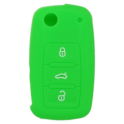 fassport-silicone-cover-skin-jacket-for-volkswagen-skoda-seat-3-button-flip-remote-key-cv2801-green