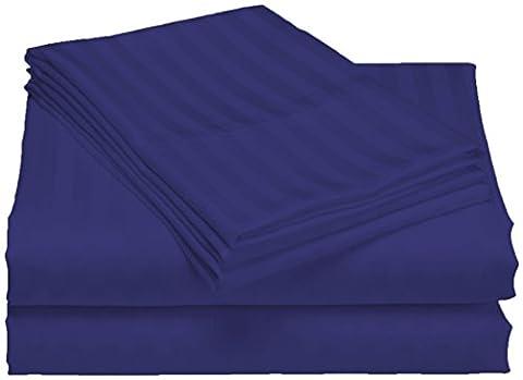 scalabedding Tasche Tiefe 100% ägyptische Baumwolle 500TC 6teilig Blatt 2Stück–gestreift blau royal