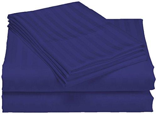 300tc ägyptische Baumwolle Kissenbezug (SCALABEDDING 100% ägyptische Baumwolle, 6-teilig 300 TC 28 Zoll-Tief Pocket Sheet Set Cal King Royal Blau gestreift)