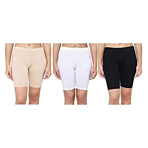 AJ FASHIONS Spandex Soft Cotton Lycra Cycling Shorts/Shorties | Soft and Skinny Cycling/Yoga/Casual Shorts for Girls/Women/Ladies – Pack of 3,6,9,12 (Skin,White and Black)