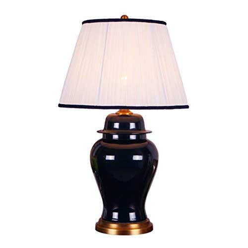 CQ Kreative Amerikanischen Stil Wohnzimmer Kupfer Keramik Tischlampe Einfache Tinte Blau Schlafzimmer Nachttischlampe (Einfach Tinte)