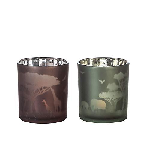 Casablanca - Windlicht -Serengeti-Glas,grün/braun2 Fach Sortiert