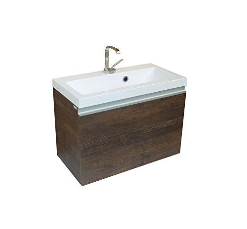 Quentis Badmöbelset Faros, Breite 60 cm, Waschbecken und Unterschrank, Front und Korpus Holzdekor antik