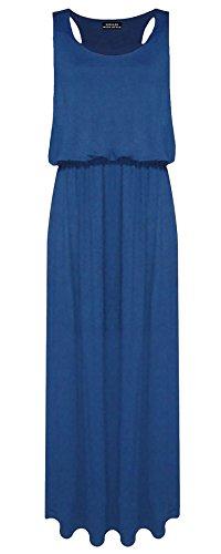 Lul® Damen Ballon Maxi Kleid Damen 005812Jersey Toga Racer Back Weste Lange Kleid Regular Größen 8–14 Gr. 36, Türkis - Blaugrün