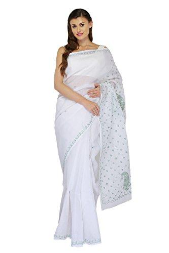 Bds Chikan Women's Cotton Saree (Bds00557_White)