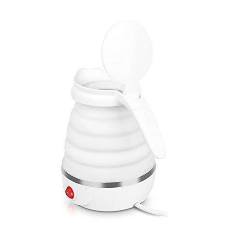 ZAIYI Wasserkocher White Kettle 0.6L Klappkessel Portable Wasserkocher Reisekocher,White