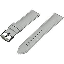 Crocodile Grain Padded Italian Calfskin Leather Watch Band With Classic Polished Stainless Steel Buckle