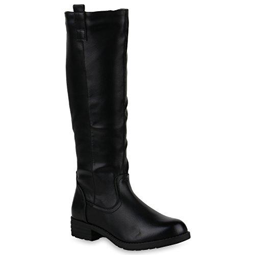 stiefelparadies Damen Stiefel Leicht Gefütterte Schuhe Profilsohle Cowboystiefel 147013 Schwarz All 38 Flandell